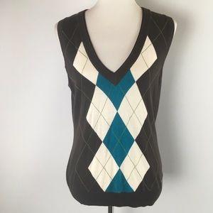 Esprit Womens Vest Stretch Brown Argyle Pattern